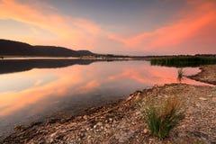 Sommersonnenuntergang bei Boorooberongal Penrith Stockfoto