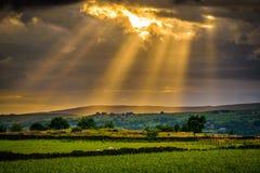 Sommersonnenuntergang mit Sonnenstrahlen durch Wolken Lizenzfreie Stockfotos