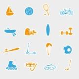 Sommersport und Ausrüstungsaufkleber eps10 Lizenzfreies Stockfoto