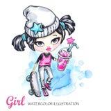 Sommersportillustration Aquarellkarten-Schmutzmädchen mit Skateboard und Limonade jugendlicher lizenzfreie abbildung