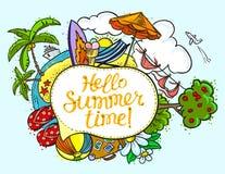 Sommerspracheblase mit hallo Sommerzeitbeschriftung Backgroun lizenzfreie abbildung