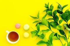 Sommerstimmung, Sommerteeparty Tasse Tee und Bonbons macarons nahe brignt Grün auf Draufsicht des gelben Hintergrundes kopieren Stockbilder