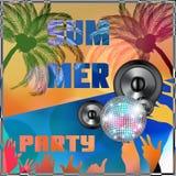 Sommerstrand bunte Parteiflieger-Designillustration Stockbild