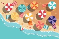 Sommerstrand im flachen Design, in der Seeseite und in den Strandeinzelteilen Lizenzfreie Stockbilder
