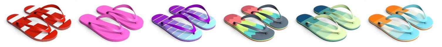 Sommerstrandferien Bunte Flipflops lokalisiert auf weißem Hintergrund, Collage, Fahne Abbildung 3D Stockfotos