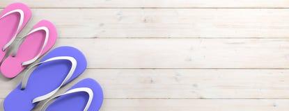 Sommerstrandferien Flipflops auf hölzernem Hintergrund, Draufsicht, Kopienraum Abbildung 3D Stockbilder