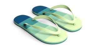 Sommerstrandferien Grüne Pastellflipflops lokalisiert auf weißem Hintergrund Abbildung 3D Lizenzfreies Stockfoto
