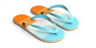 Sommerstrandferien Pastellflipflops lokalisiert auf weißem Hintergrund Abbildung 3D Stockfoto