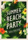 Sommerstrandfestplakat-Designschablone mit Palmen, tropischer Hintergrund der Fahne Auch im corel abgehobenen Betrag Stockfotografie