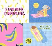 Sommerstrandplakat mit Mädchen Gerade Schauer vektor abbildung