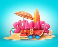 Sommerstrandvektor-Fahnendesign Text des Sommers 3d im Sand Lizenzfreie Stockfotografie