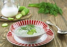 Sommersuppe mit Gurken, Jogurt und frischen Kräutern Lizenzfreie Stockfotos