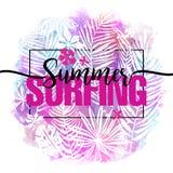 Sommersurfen Modernes kalligraphisches Design mit modischem tropischem Hintergrund, exotische Blätter auf hellem buntem Aquarell Lizenzfreies Stockfoto