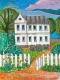 Sommertag im Dorf Bunte Acrylzeichnung des weißen zweistöckigen Hauses vektor abbildung
