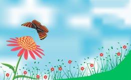 Sommertag mit Blumen- und Schmetterlingsplakat Lizenzfreie Stockfotos