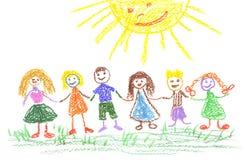 Sommertag, Zeichnung des Kindes Lizenzfreie Stockbilder