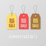 Sommertags eingestellt Große Verkaufsmarke Tagvektor Freie Marke mit rotem Farbband Stockbilder