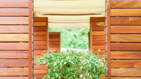 Sommerterrasse in einem Café gemacht vom Holz stockbild
