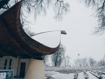 Sommertheater u. x22; Shell& x22; in der Stadt von Kiew im Winter Lizenzfreie Stockbilder