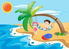 Sommerthema mit Kindern auf Strand vektor abbildung