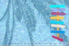 Sommerurlaubsortpool-Themahintergrund Stockfotos