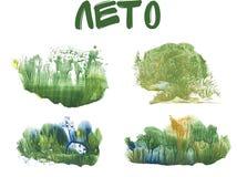 Sommerwald, abstrakte Zeichnung auf weißem Hintergrund vektor abbildung