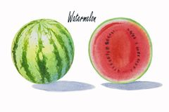 Sommerwassermelone geschnitten lokalisiert stockbilder