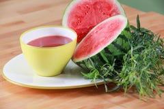 Sommerwassermelonesuppe mit Estragon Stockfotografie