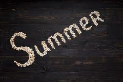 Sommerzeichen auf hölzernem Hintergrund Lizenzfreies Stockbild