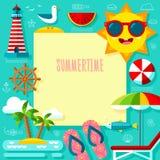 Sommerzeit-Abenteuer-Schablone Stockfotografie