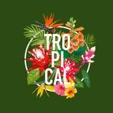 Sommerzeit-Blumenplakat Tropische Blumen und Palmblatt-Design für Fahne, Flieger, Broschüre, Gewebe-Druck-hallo Sommer Stockbilder