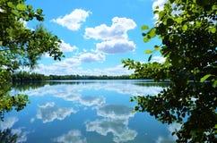 Sommerzeit in einem See im Wald lizenzfreie stockbilder