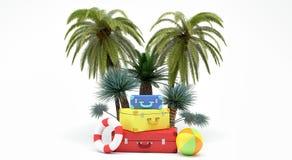 Sommerzeit-Feiertagskonzept 3d übertragen Illustration 3d Stockfotografie