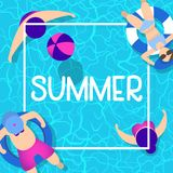 Sommerzeit-Hintergrunddesign mit blauem Wasser des Pools stockbild