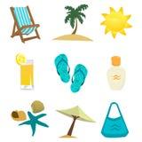 Sommerzeit-Ikonenset Lizenzfreies Stockbild