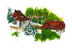Sommerzeit malte Ansicht zu den roten Dächern Lizenzfreies Stockbild