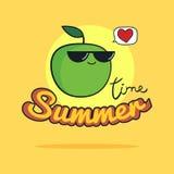 Sommerzeitillustration Nette Apfelzeichentrickfilm-figur Lizenzfreie Stockbilder