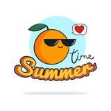 Sommerzeitillustration Nette orange Zeichentrickfilm-Figur Stockbilder