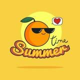 Sommerzeitillustration Nette orange Zeichentrickfilm-Figur Lizenzfreies Stockfoto