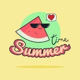 Sommerzeitillustration Nette Wassermelonenzeichentrickfilm-figur Stockfoto