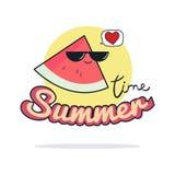 Sommerzeitillustration Nette Wassermelonenzeichentrickfilm-figur Stockbild