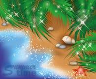 Sommerzeitkarte mit Starfish Lizenzfreie Stockbilder
