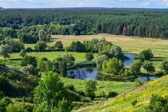 Sommerzeitlandschaft - River Valley des Siverskyi Seversky Donets Lizenzfreie Stockfotos