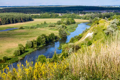 Sommerzeitlandschaft - River Valley des Siverskyi Seversky Donets Lizenzfreies Stockfoto