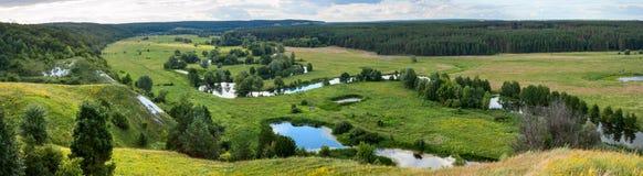 Sommerzeitlandschaftsfahne, Panorama - River Valley des Siverskyi Seversky Donets Stockbild