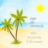 Sommerzeitplakat mit Seehintergrund Lizenzfreies Stockfoto