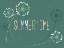 Sommerzeitvektorkarte mit Löwenzahnblumen Stockfoto