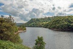 Sommerzeitwald- und -gebirgsseelandschaft im Elantal von Wales Stockfotografie
