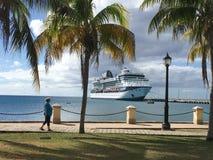 Sommet de célébrité de bateau de croisière dans St Croix Virgin Islands images libres de droits