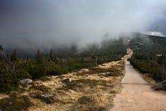 Sommet de montagne avec de bas nuages accrochants Images stock